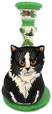 "Cats by Nina Lyman Floral Candle Holder with Black White Cat 9 3/4"" Hand Painted"