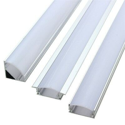 50CM Aluminum Channel Holder LED Strip Light Bar Under Cabinet Lamp Cover Milk