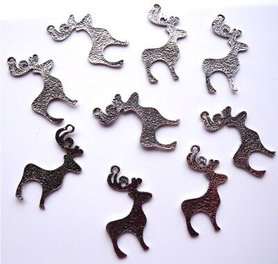 10 Gorgeous Xmas Reindeer Charms / Pendants - Fast Free Shipping