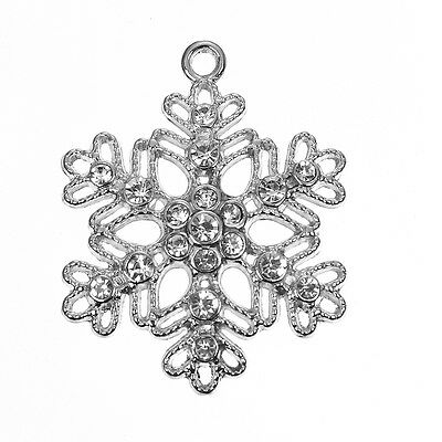 5 Gorgeous Xmas Diamante Snowflake Charms / Pendants - Fast Free Shipping