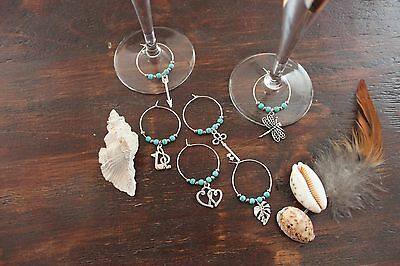 Stunning Handmade Wine Glass Rings Turquoise &Silver Heart Arrow Charms Set of 6