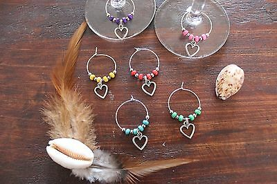 Great Handmade Wine Glass Rings Bright Turquoise Colour Love Heart Charm Set of6