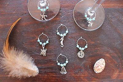 Stunning Ocean Handmade Wine Glass Rings Turquoise &Silver Turtle Charm Set of 6