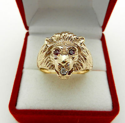 Vintage Highly Detailed Lion's Head Solid Gold Ring With Ruby & Diamond 15.8 Gr
