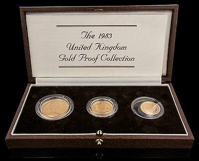 1983 United Kingdom Gold Proof 3 Coin  Set In Original Mint Packaging W/coa