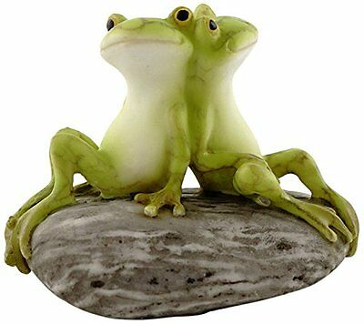 Frog Friends on Stone Miniature (4342)  NEW Miniature Dollhouse FAIRY GARDEN