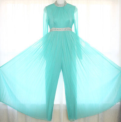 Vtg 60s Chiffon PALAZZO Pleated Wide Leg Jumpsuit Dress Evening Party XXS/XS