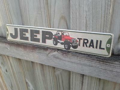 Jeep Trail Metal Sign 20 By 3 Inches Raised Letters Vintage Style Gas And Oil
