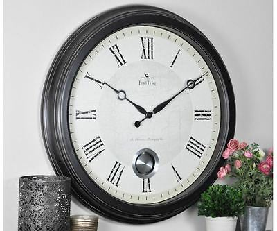 24 in. Round Adair Wall Clock Home Decor Classic Timepiece Grand Bronze Roman