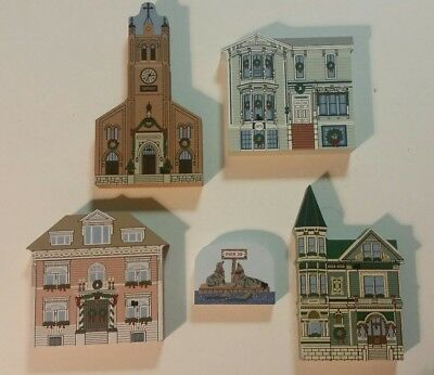 Cats Meow Village, 2000 San Francisco Christmas complete 5 piece set