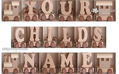 Personalised Wooden Name Train - Engine, Caboose And 5 Letter Name  + Free Post