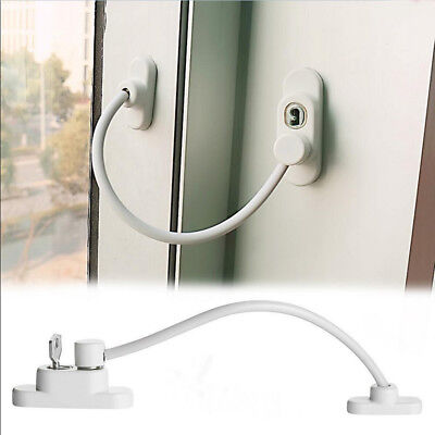 Lockable Window Security Cable Lock Door Restrictor Child Safety Stainless Key A
