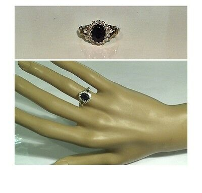 Vintage - Stunning 1.00ct Genuine Sapphire & Diamond Ring. 9ct Yellow Gold Sz L½