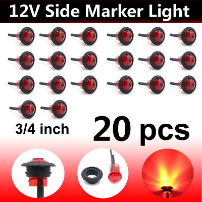 "20x Red LED 3/4"" Clearance Side Marker Lights Lamp 12/24V Truck Car Trailers 12V"