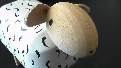 Excellent Cond. Wood block, handpainted SHEEP w leather ears