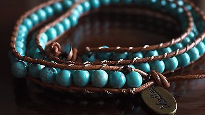 Medley Wrap Around Bracelet Blue Turquoise Bead Crystals Brown Heal Ideal Gift