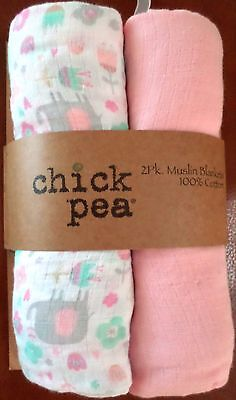 Chick Pea Baby Girls Muslin Swaddle Blankets Elephants/Flowers White/Pink 36x40