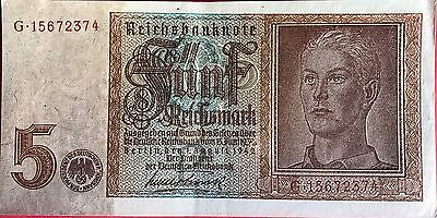 Germany 5 Reichsmark Note 1942, Portraying The Hitler Youth.  a/Unc + Free Token