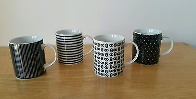 VTG 80's DOMINO toscany Collection Mugs Japan Black & White Design Coffee Tea