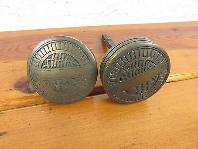 Door Knobs Antique Victorian Set of 2 Solid Brass / Bronze w/ connector,+ screws