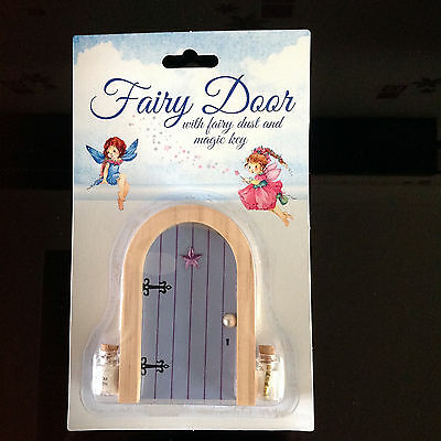 Bnib lilac purple wooden fairy door with fairy dust and for Fairy door with key