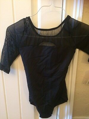 Natalie girl's dance leoptard mesh Bodice W/ Sleeves Black Size Large  NWT