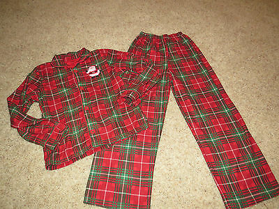 Girls or boys Carter's Red Plaid Christmas Santa Pajamas Size 10 Excellent!