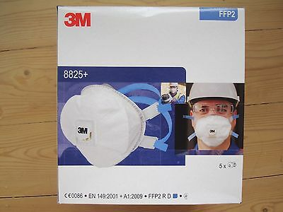 3M Particulate Respirator 8825+ FFP2 RD CE0086 Dust Face Mask Valved Box of 5