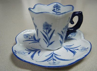Vintage Hand-Painted Blue and White Asian Demitasse Cup made in China Excellent