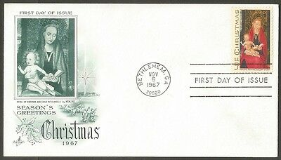 Us Fdc 1967 Christmas 5C Stamp Memling Ac First Day Of Issue Cover Bethlehem Ga