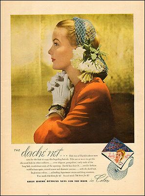 1944 WW2 era AD Fashion Color HAIR NETS from LILY DACHE Gorgeous model ! 033117