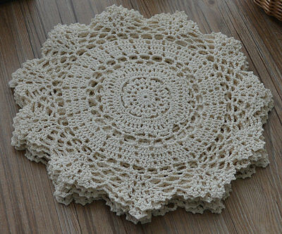 "14"" Round Cream Floral Crochet Lace Doily French Country Wedding"
