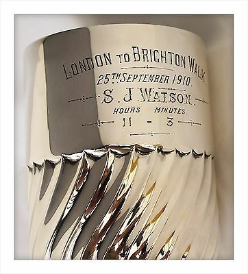 Historic Sterling Silver Walking Trophy Tankard. London To Brighton Walk 1910.