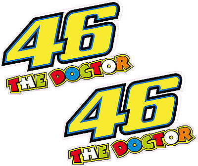 2 x 46 The Doctor Valentino Rossi 75mm Sticker Decal Quality Printed Vinyl Label