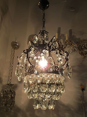 Antique Vnt French Cage Style Czech Crystal Chandelier Lamp Light 1940s RARE