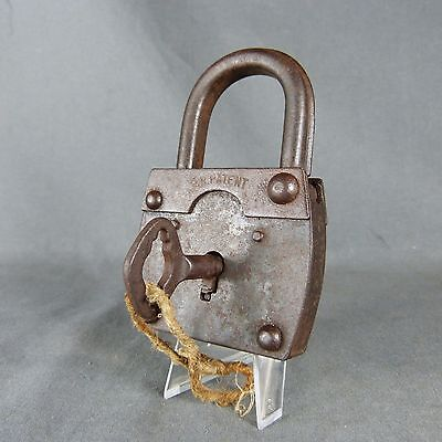 Antique Large Padlock: 19thC Cast Iron Working with Key