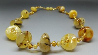 "19,3"" long Beautiful Real Baltic Amber Necklace Citrine/Butterscotch"