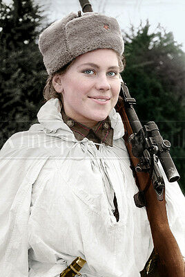 Roza Shanina Sniper WW2 Russian soldier Soviet Red army photograph photo COLOR