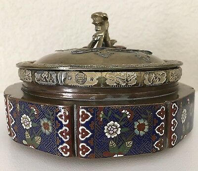 Unique Vintage Chinese Cloisonne Enamel Box Container Foo Dog Finial Lid~Pretty!