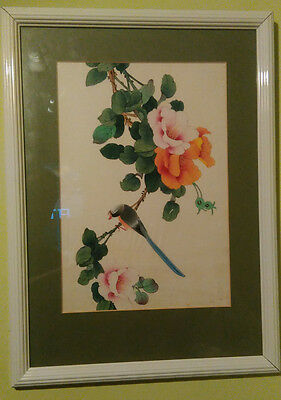 Attractive picture of bird and flowers on silk, white frame