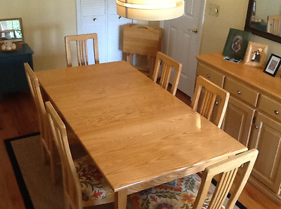 "Blond Dining Room Set 6 Chairs, Table, 36"" X 69""  Pads, Buffet 19"" X 48"""