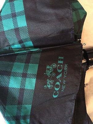 Coach Mini Riley Plaid Black Teal Green Umbrella F56050 NWT!
