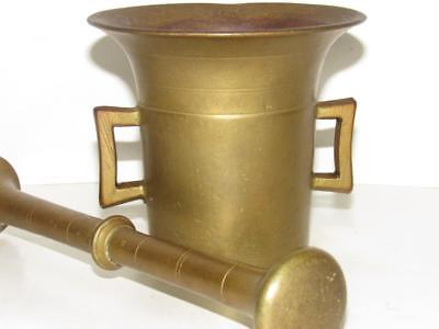 Antique Solid Brass MORTAR & PESTLE Apothecary Medical Equipment 1900s No Res