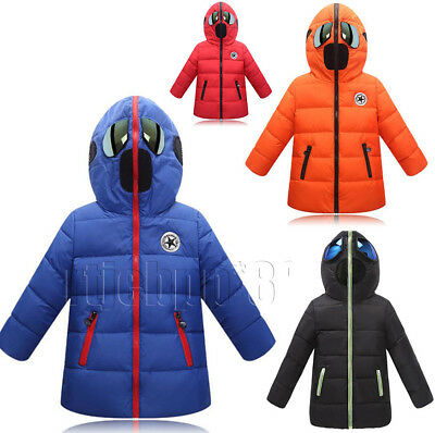 Kids Children Boys Girls Hooded Casual Jacket Cotton Padded Quilted Winter Coat