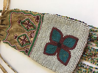 VERY RARE-- Antique Native American Indian Glass Beaded Both sides Tobacco Bag