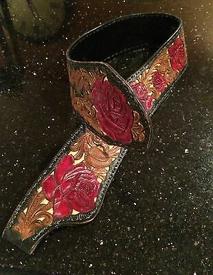 Gorgeous hand tooled Ray Pohja leather & snakeskin Red Rose belt!