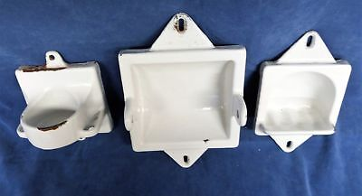Vintage Porcelain on Cast Iron White Bathroom Toothbrush, TP, Soap Holder Set
