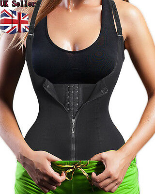 UK Underbust Corset Waist Trainer Sauna Sweat Body Shaper Vest Top With Zipper