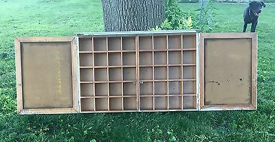 Vtg Primitive Wooden PIGEON HOLE STORAGE CABINET Cubby  Farm House INDUSTRIAL