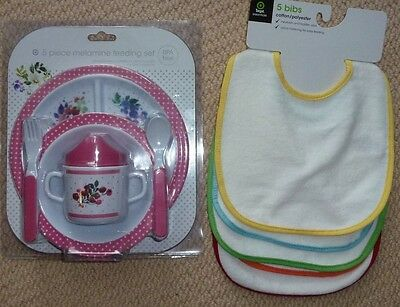 NEW Melamine 5 Piece Feeding Gift Set Plate Bowl Cup Spoon Fork 5 Pack Bibs